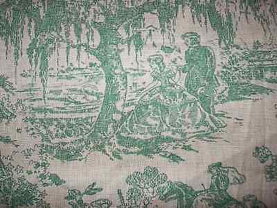 Antique Toile Fabric American Historical Vintage Green Southern C