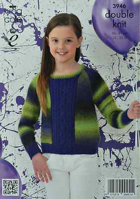 KNITTING PATTERN Girls Long Sleeve Jumper with plain Cable panel Riot DK 3946