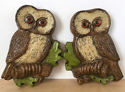 Vintage 70s Retro Plastic Resin Pair of Brown OWLS Wall Hanging Art Decor