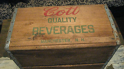 VINTAGE WOODEN SHIPPING CRATE/BOX Cott Beverages Manchester NH