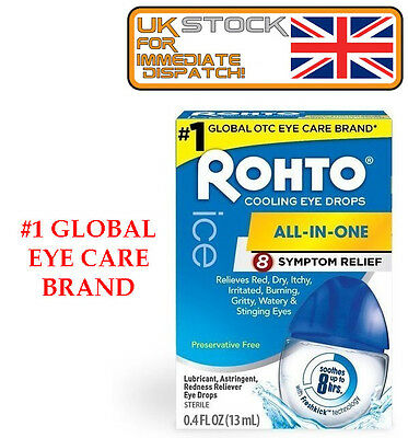 Rohto Ice All In One Cooling Eye Drops, 0.4 fl oz (13mL) US IMPORT
