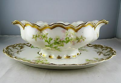 Haviland Limoges Schleiger 61G Gravy Boat w/ Attached Underplate Pink Floral