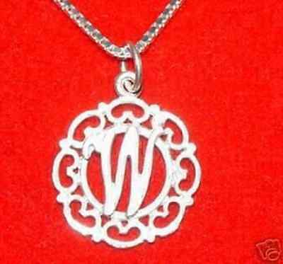 LOOK Sterling Silver Pendant Charm Initial Letter W Celtic