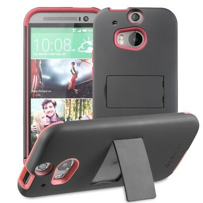 Dual Layer Rugged Hybrid Kickstand Case Cover for HTC One M8 + 1 HD Clear Screen