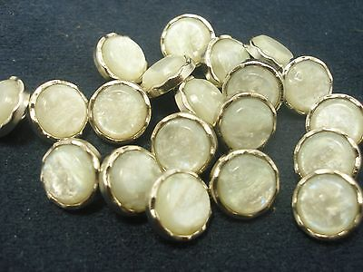 """New 10 Plastic White Mother of Pearl Buttons sizes 1/2 '' 5/8"""" & 9/16 (BK)"""