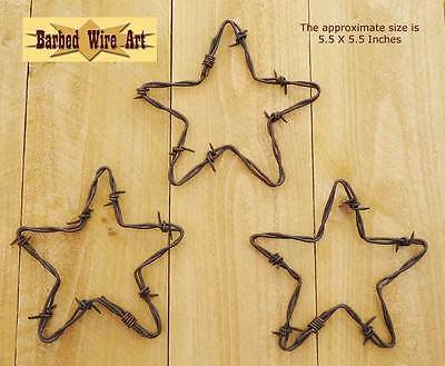 Set of 3 Stars - handmade decor country wall hanging sculpture barbed wire art