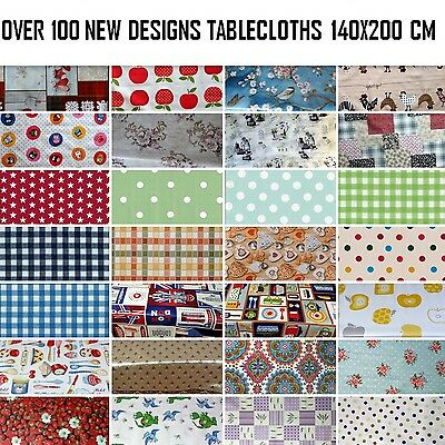 WIPEABLE TABLECLOTH  PLASTIC VINYL OILCLOTH TABLE COVER PROTECTOR 140 x 200 cm