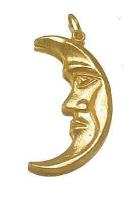 LOOK New Celtic Moon Goddess CRESCENT Charm 24kt Gold plated