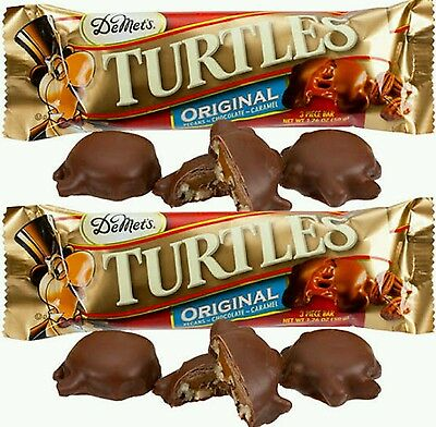 2 x Demets Turtles King Size Chocolate bars 50g, caramel nut clusters