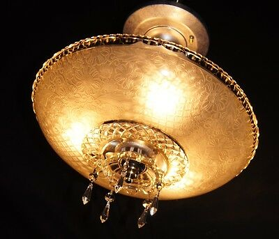 Vintage Deco Era Chandelier Flush Mount Crystal Ceiling Fixture Glass Shade 1940