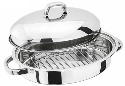 Roasting Pan with Lid Oval 37cm Stainless Steel Roaster Oven Baking Dish 4.5L