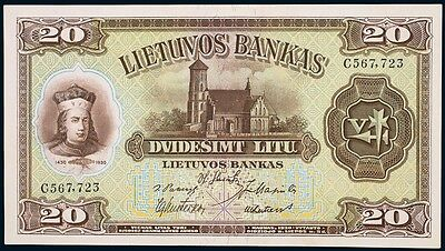 Lithuania 1929 : 20  Litu P.27a  PMG 58 Choice About UNC EPQ  Rare Note