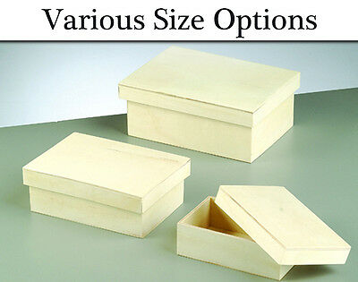 Choice of Wooden Rectangular Lidded Boxes to Decorate