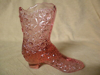 Vintage Fenton Mulberry Colored Boot With Daisey & Button Pattern