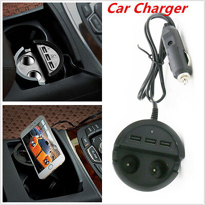 Universal Car Charger Mobile Phone Cup Mount Holder with 3 USB Port+2 Cigarette