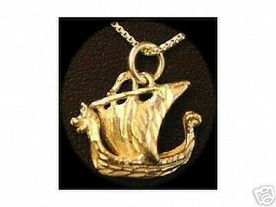 LOOK GOLD PLATED Pirate Ship Pendant Charm Sterling Silver