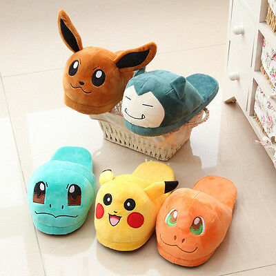 Hot Pokemon Go Soft Plush Slippers Warm Hat Indoor Home Shoes Costume Xmas Gift