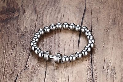 Men Boy Silver 8 mm Ball Bead Dumbbells Wristband Bracelet Stainless Steel