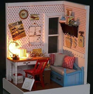 Kit w/ LED Wooden Dollhouse Miniature DIY House happy memories Xmas Gift