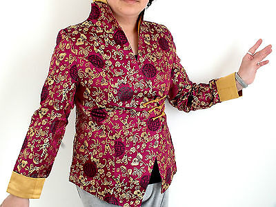 Chinese Purple Gold Floral Women Jacket New Year Xmas Party Coat Uk Size 14 L