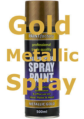 Gold Metallic Spray Paint 250Ml Interior Exterior All Purpose Furniture Craft