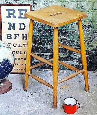 1 x Vintage Industrial Mid Century Wooden School Lab Stool