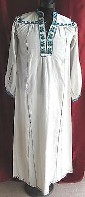19C Antique Macedonian Folk Costume Handmade Embroidered Ladies Long Shirt Rare