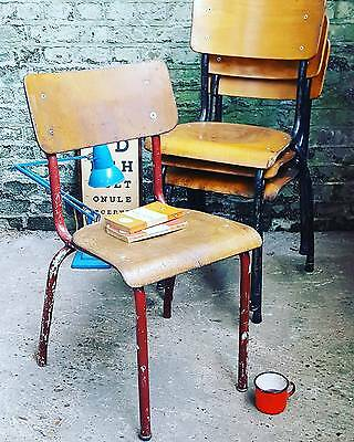 1 x Vintage Ply + Tubular Metal Mid Century Stacking School Chair Dining