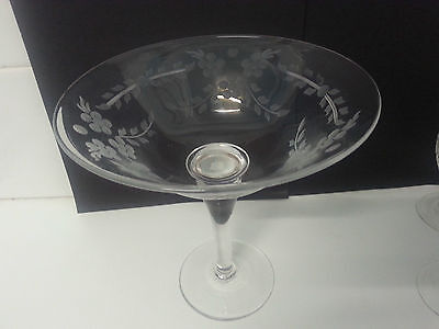 Lovely hand etched Webb Corbett crystal glass footed bowl or tazza