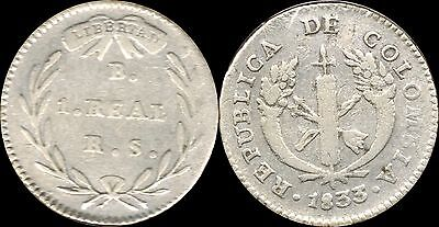 *Lucernae* Colombia Republica 1 Real 1833 RS B Silver ( S387 )