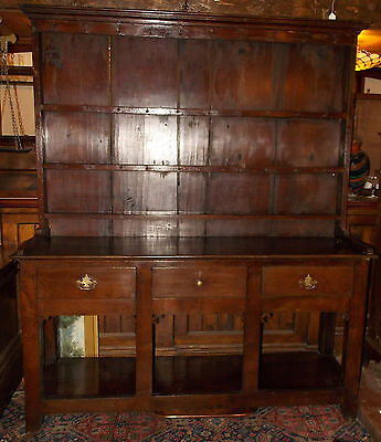 Antique Georgian Victorian dark oak POT BOARD WELSH DRESSER & rack