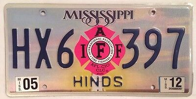 Mississippi PROFESSIONAL FIREFIGHTER IAFF license Plate Fire Fighter IFO AFL CIO