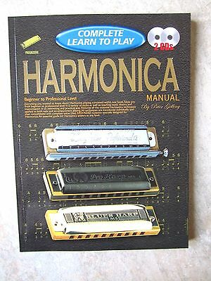 Complete Learn to Play HARMONICA manual with 2 cds  *NEW*