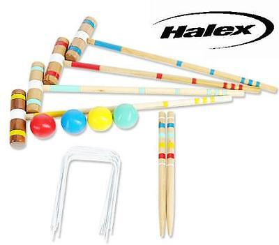 Halex Classic Backyard 4 Player Hardwood Stakes Croquet Game Set with Carry Bag