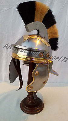 Roman Guard Armor Helmet ~ Brass Accents ~ Medieval Knight Crusader ~ Steel SCA