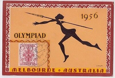 Olympic stamp 4d Australia 1956 on J Rajko postcard, javelin & village postmarks