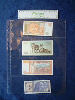 10 X Banknote Album Refills 4 Pocket A4 Plastic Archive Storage Sleeves Page