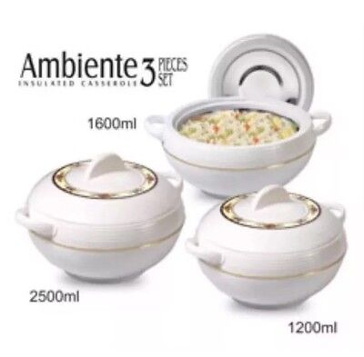 3 Piece Food Warmer Insulated Casserole Hot Pot 1200ml 1600ml 2500ml Set White