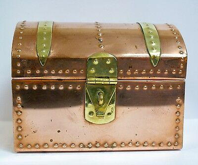 Vintage Copper and Brass Domed Casket Caddy Box Arts and Crafts Style