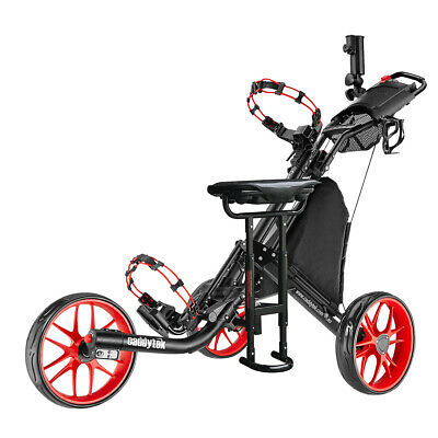 CaddyTek CaddyLite EZ-Fold 3 Wheel Golf Buggy / Push Cart Red + Removable Seat