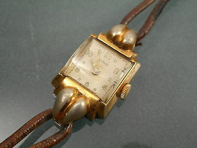 Vintage Art Deco Lanco Ladies Gold Plated Wristwatch For Spares Or Repair