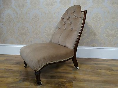 Edwardian Hardwood Framed Nursing Hall Chair, button backe