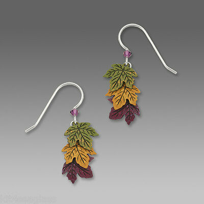 Sienna Sky Green Gold Rust LEAF EARRINGS STERLING Silver Autumn Fall Leaves Box