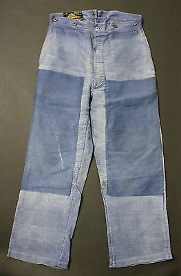 VTG French 1920 blue work trousers moleskin Workwear pants 32W patched st michel