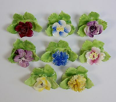 8 x Royal Adderley Floral Bone China Place Name Card Holders in Box