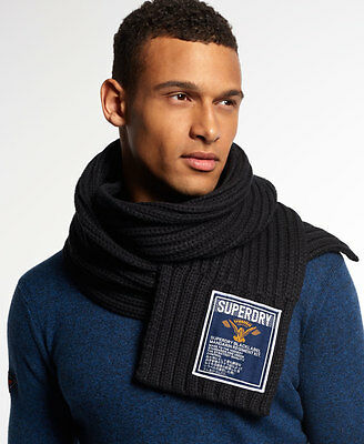 New Mens Superdry Super Cable Scarf Dark Marl