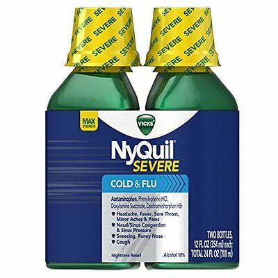 NyQuil Severe Cold & Flu 12 Fl OZ each Max Strength 2 PACK