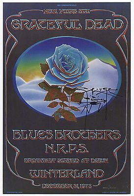 Original Mint New Years Eve 78 Grateful Dead Blue Rose Handbill Signed By Mouse!