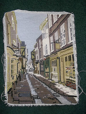 Completed Tapestry Needlework,Street Scene 24x33cm
