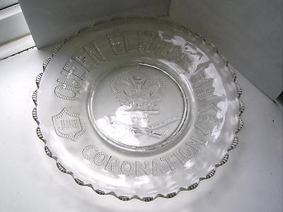 Elizabeth II Coronation pressed glass plate 1953